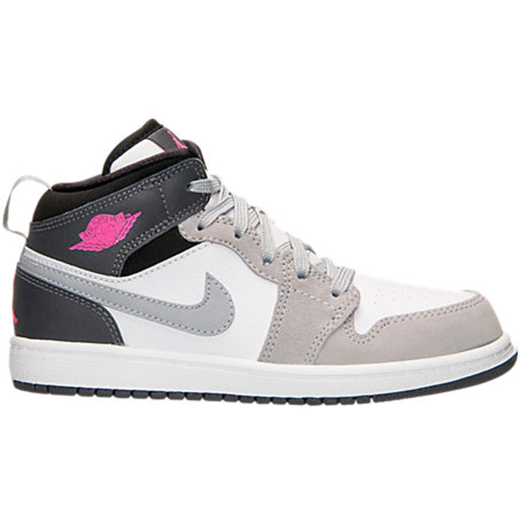 Jordan 1 Mid White Grey Hyper Pink (PS)
