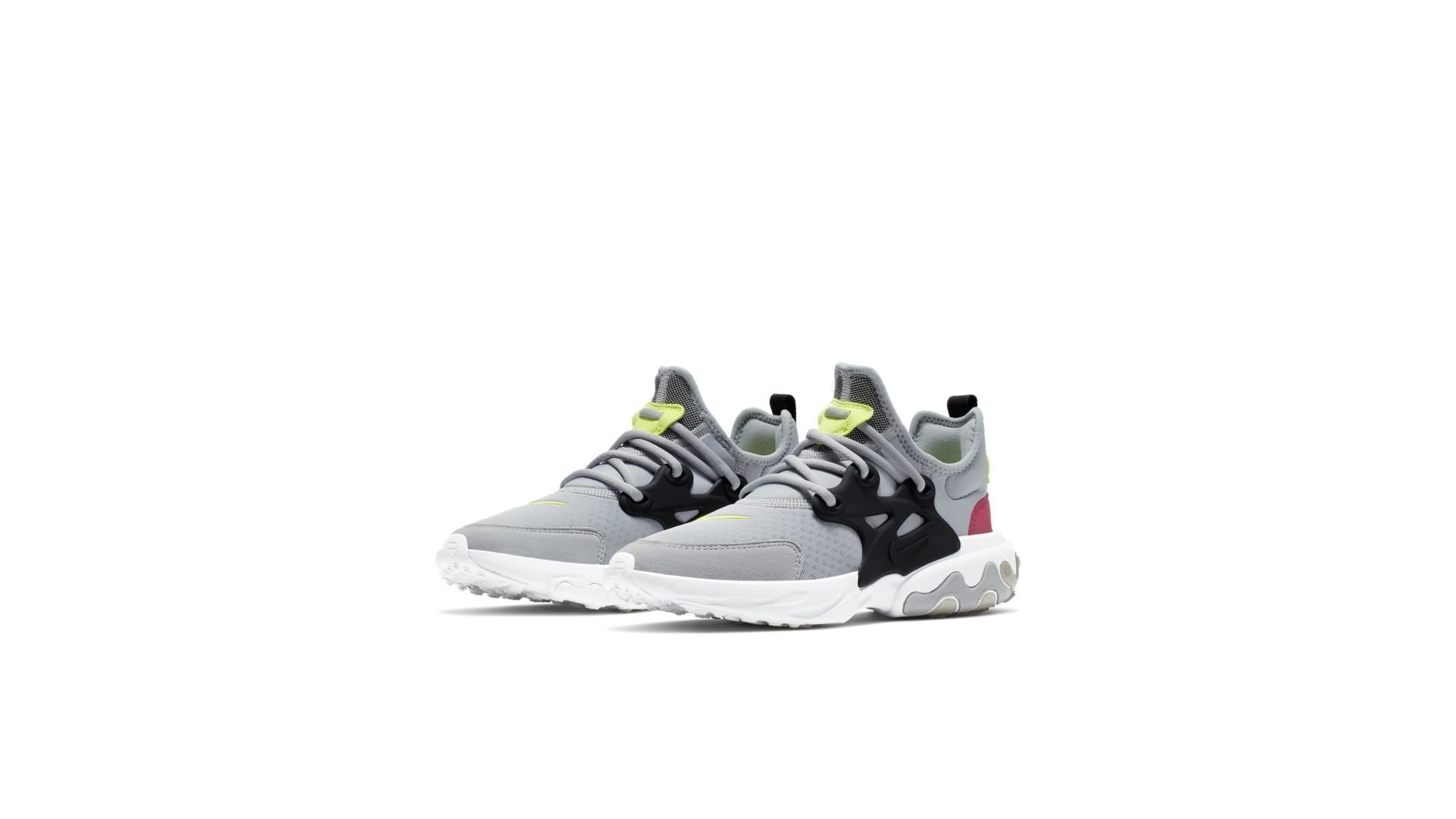 Nike React Presto Wolf Grey Black Rush Pink Volt (GS) (BQ4002-004)