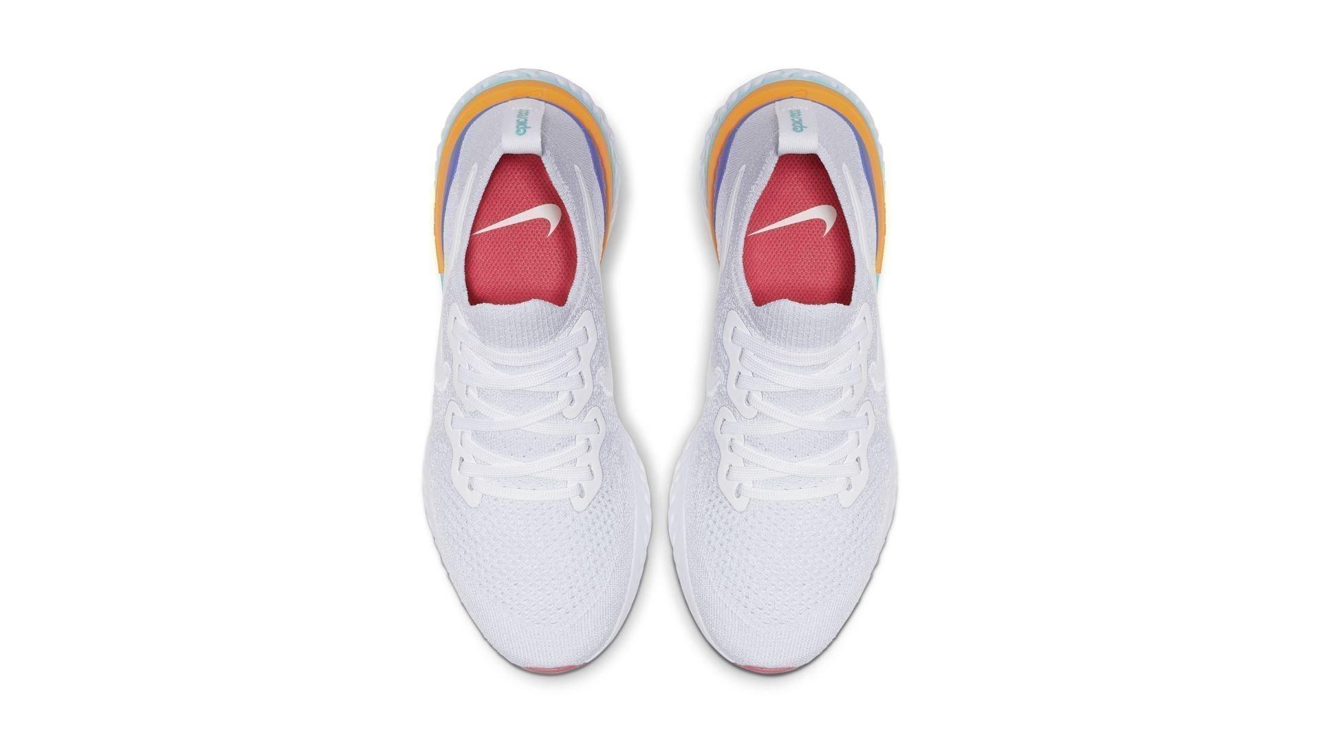 Nike Epic React Flyknit 2 White Hyper Jade Ember Glow (W) (BQ8927-104)