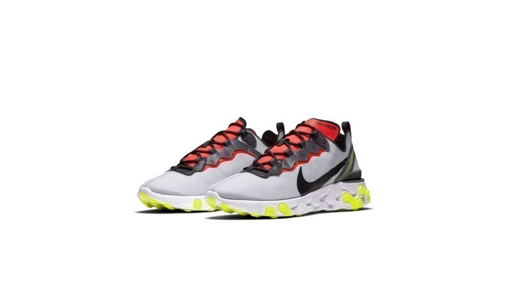 Nike React Element 55 Pure Platinum Bright Crimson Volt