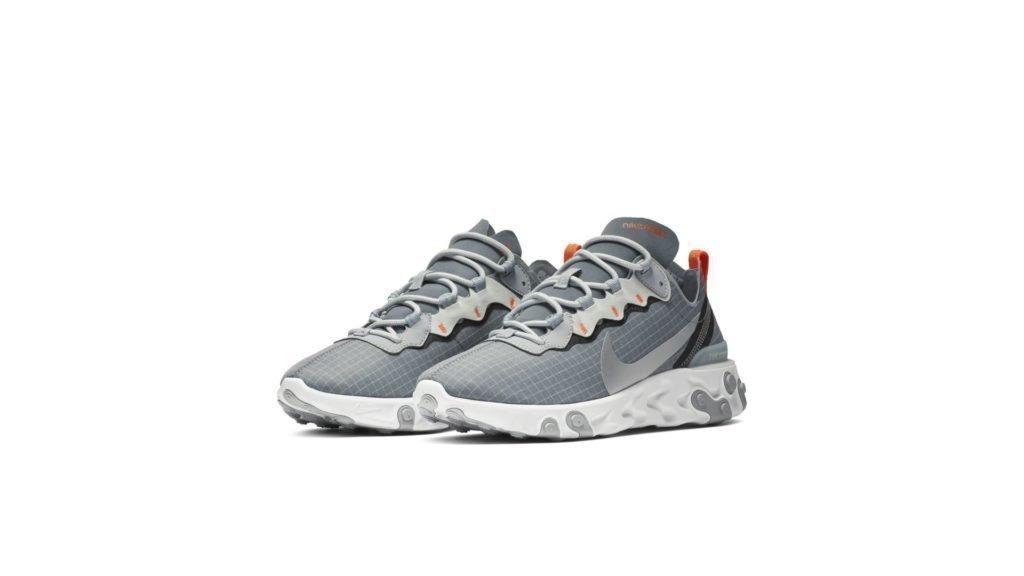 Nike React Element 55 Cool Grey Hyper Crimson