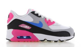Nike Air Max 90 Leather Wit/Zwart/Roze Kids