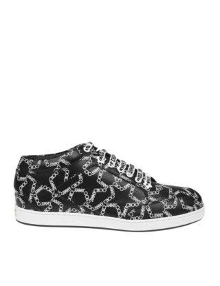Jimmy Choo Jimmy Choo Miami Sneakers In Black Leather With Print (zwart/wit)