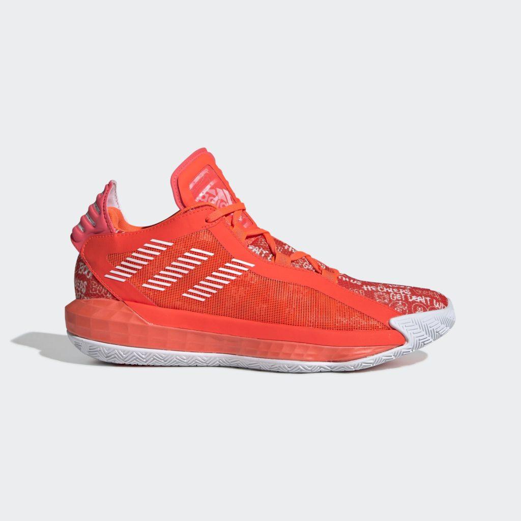 adidas Dame 6 Solar Red White